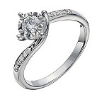 9ct white gold 1/3 carat diamond illusion set solitaire ring - Product number 1644572