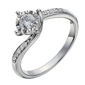 9ct white gold 0.33ct diamond illusion set solitaire ring - Product number 1644572