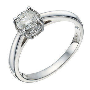 18ct white gold 0.50ct collet set diamond solitaire ring - Product number 1645129