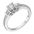 18ct white gold 2/3 carat solitaire & baguette diamond ring - Product number 1645536