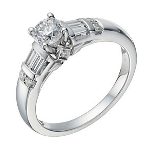 18ct white gold 0.75ct solitaire & baguette diamond ring - Product number 1645781