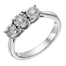 9ct white gold 1/3 carat diamond 3 stone illusion set ring - Product number 1646192