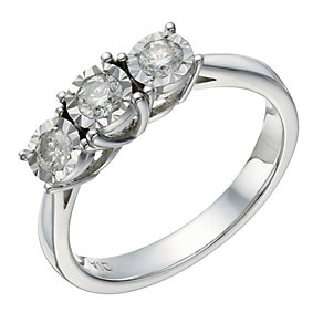 9ct white gold 0.33ct diamond 3 stone illusion set ring - Product number 1646192