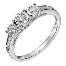 9ct white gold 0.33ct diamond 3 stone illusion set ring - Product number 1646338