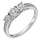 9ct white gold 1/3 carat diamond 3 stone illusion set ring - Product number 1646338