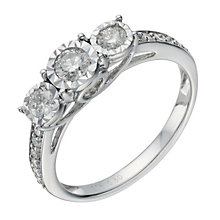 9ct white gold 0.50ct diamond 3 stone illusion set ring - Product number 1646451