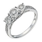 9ct white gold 1/2 carat diamond 3 stone illusion set ring - Product number 1646451