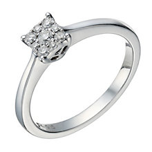 9ct white gold 15 point diamond square cluster ring - Product number 1646583