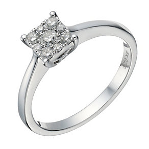 9ct white gold 0.25ct diamond square cluster ring - Product number 1646737