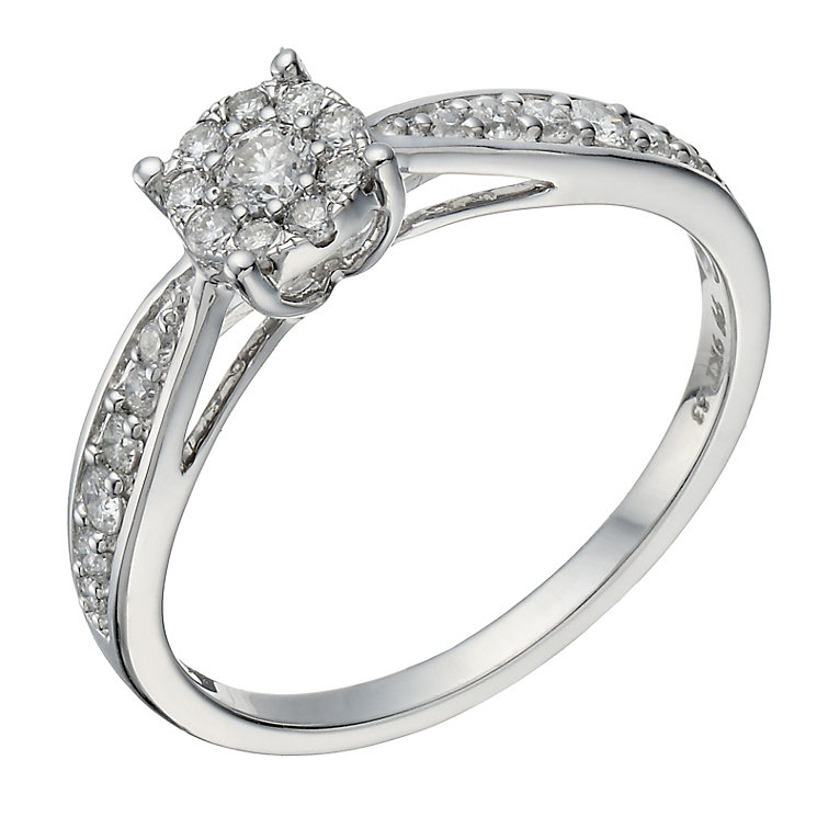 9ct white gold 0.33ct diamond halo cluster ring - Product number 1646885