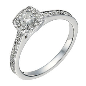 9ct white gold 0.50ct diamond solitaire cushion halo ring - Product number 1647024