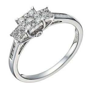 9ct white gold 0.33ct diamond triple square cluster ring - Product number 1647156