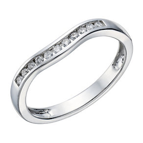 9ct white gold 15 point diamond shaped ring - Product number 1647288
