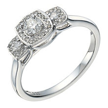9ct white gold 0.33ct diamond trilogy cushion halo ring - Product number 1647415