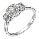 9ct white gold 1/3 carat diamond trilogy cushion halo ring - Product number 1647415