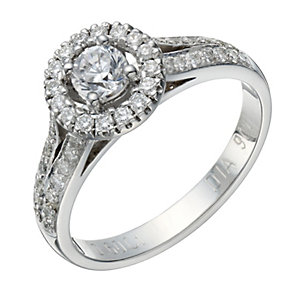 9ct white gold 60 point diamond solitaire halo ring - Product number 1647687