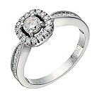 9ct white gold 1/2 carat diamond solitaire cushion halo ring - Product number 1647814
