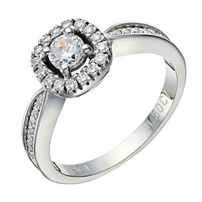 9ct white gold 0.50ct diamond solitaire cushion halo ring - Product number 1647814