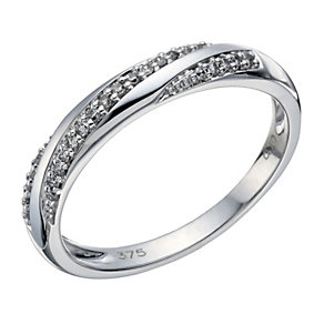 9ct white gold 10 point diamond twist ring - Product number 1648071