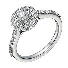 18ct white gold 0.75ct diamond solitaire halo ring - Product number 1648217