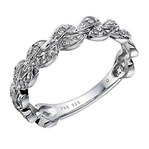 18ct white gold 0.25ct diamond plaited ring - Product number 1648349