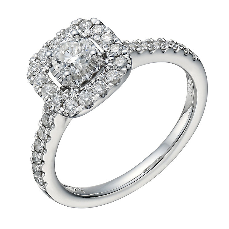 18ct white gold 0.75ct diamond cushion halo ring - Product number 1648489