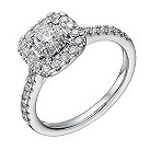 18ct white gold 3/4 carat diamond cushion halo ring - Product number 1648489