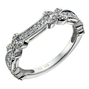 18ct white gold 0.33ct diamond kiss shaped ring - Product number 1648616