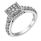 18ct white gold 1 carat diamond square cluster halo ring - Product number 1649000