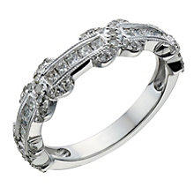 18ct white gold 0.50ct princess cut diamond & kiss ring - Product number 1649132