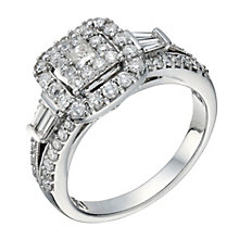 18ct white gold 1 carat diamond square cluster halo ring - Product number 1649264