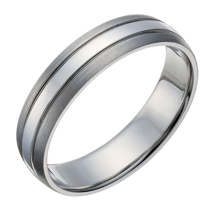 Palladium men's 3 row matt & polished 5mm ring - Product number 1651587