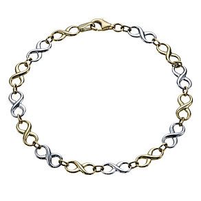 9ct gold two colour figure of 8 bracelet - Product number 1653105