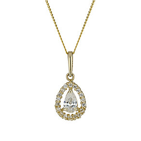 9ct gold cubic zirconia vintage style teardrop pendant - Product number 1654039