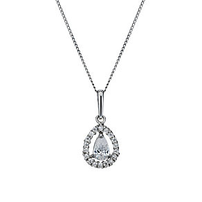 9ct white gold cubic zirconia vintage teardrop pendant - Product number 1654047