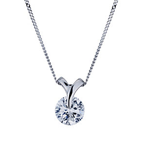9ct white gold suspended cubic zirconia pendant - Product number 1654063