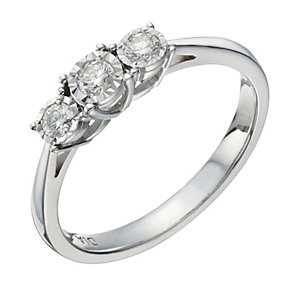 9ct white gold 20 point diamond 3 stone illusion set ring - Product number 1654101