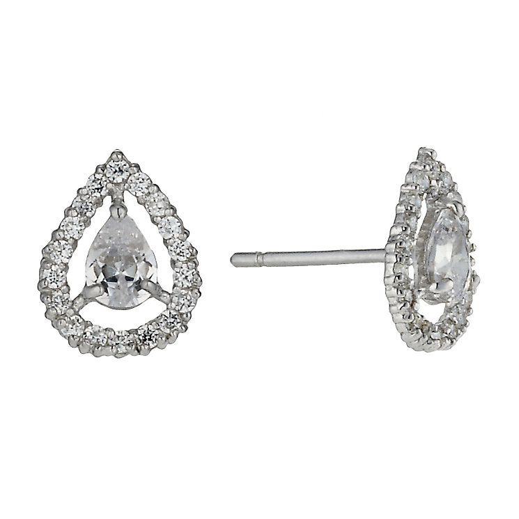 9ct white gold cubic zirconia vintage teardrop stud earrings - Product number 1654276