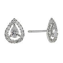 9ct white gold cubic zirconia vintage teardrop stud earrings - Product number 1654276