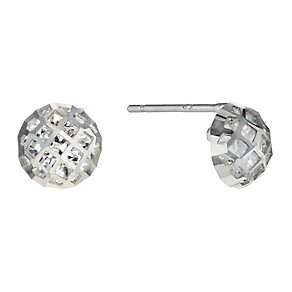 9ct white gold cubic zirconia fancy round stud earrings - Product number 1654306