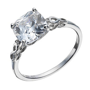 9ct white gold cubic zirconia cushion ring - Product number 1654470