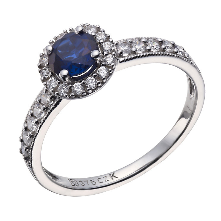 9ct white gold created sapphire & cubic zirconia ring - Product number 1654608