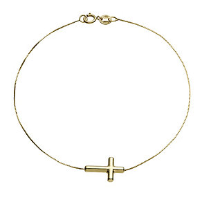 9ct gold sideways cross bracelet - Product number 1654764