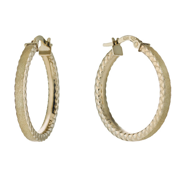 9ct gold satin diamond cut creole earrings - Product number 1654772