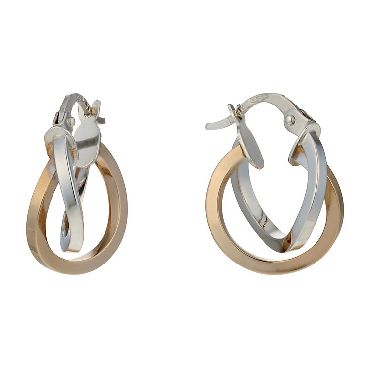 9ct white & rose gold double hoop 10mm creole earrings - Product number 1654799