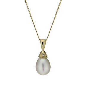 9ct gold cultured freshwater pearl & diamond drop pendant - Product number 1655027