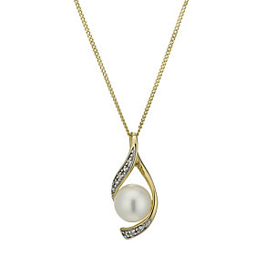 9ct gold cultured freshwater pearl & diamond pendant - Product number 1655035