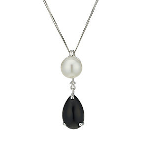 9ct white gold cultured freshwater pearl & onyx pendant - Product number 1655094