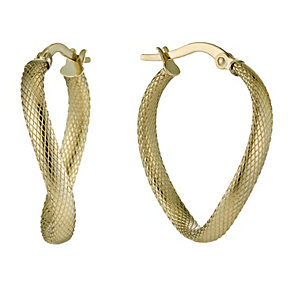 9ct Gold textured twist creole earrings - Product number 1655108