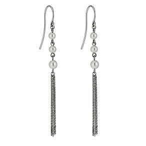 9ct white gold cultured freshwater pearl tassel earrings - Product number 1655175